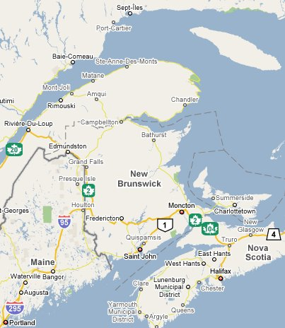 Map of New Brunswick